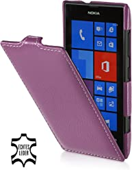 StilGut housse pour Nokia Lumia 520 en cuir véritable et ouverture verticale, Pourpre