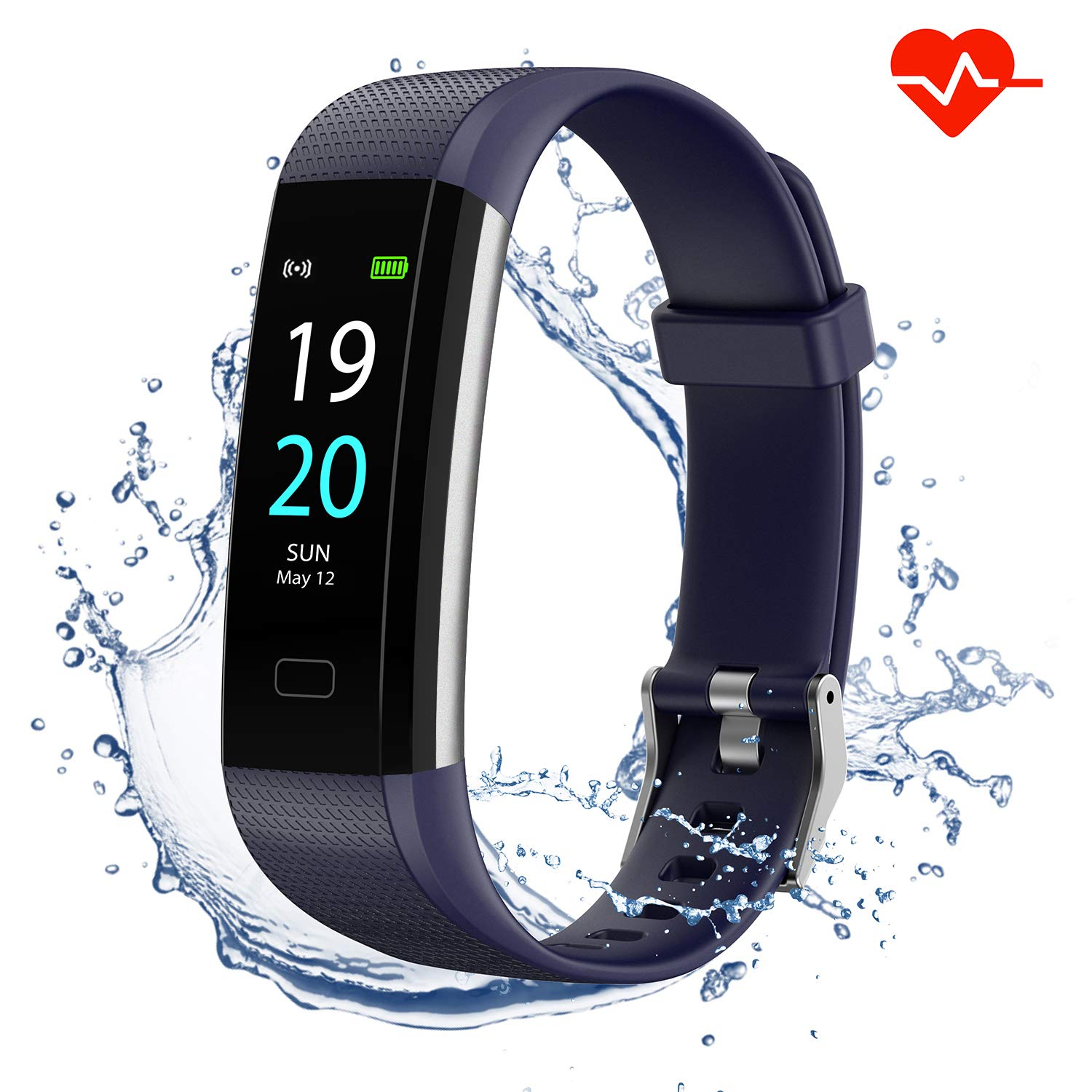 Akasma Fitness Tracker HR, S5 Activity Tracker Watch with Heart Rate Monitor, Pedometer IP68 Waterproof Sleep Monitor Step Counter for Women Men (Blue)