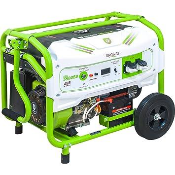 Groway GEN 5500AEB - Generador eléctrico a gasolina de 389 cc, 5500 W, 230 V, monofásico con arranque eléctrico: Amazon.es: Jardín