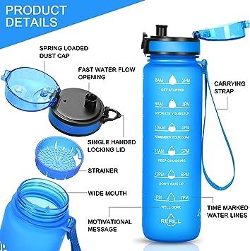 bere pi/ù acqua tutti i giorni braccialetto motivazionale con flip top B4Life Borraccia da 1 gallone con indicatore del tempo a prova di perdite extra large senza BPA allenamento fitness blu