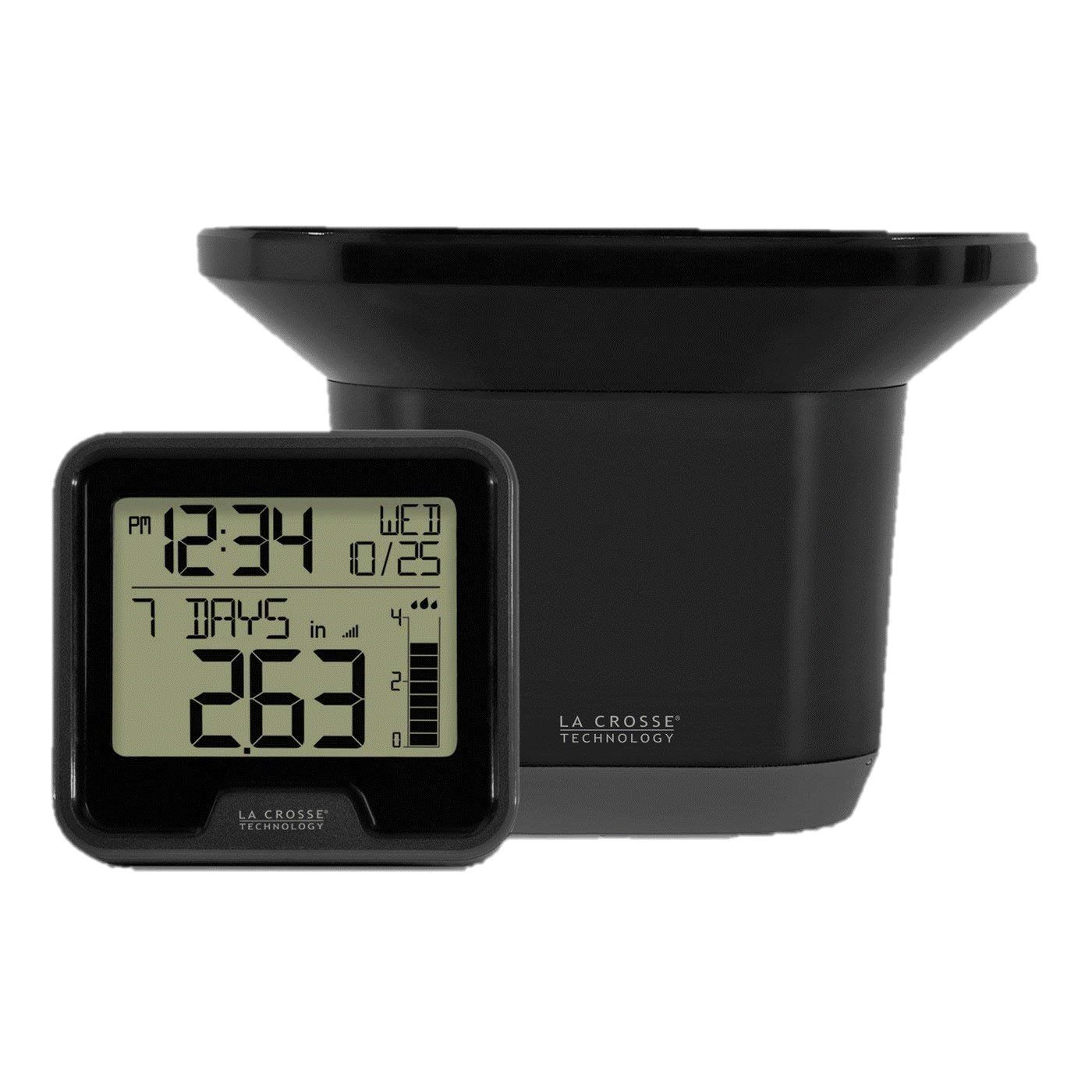 La Crosse Technology 3.54'' Digital Wireless Rain Gauge with Indoor Temperature - Black