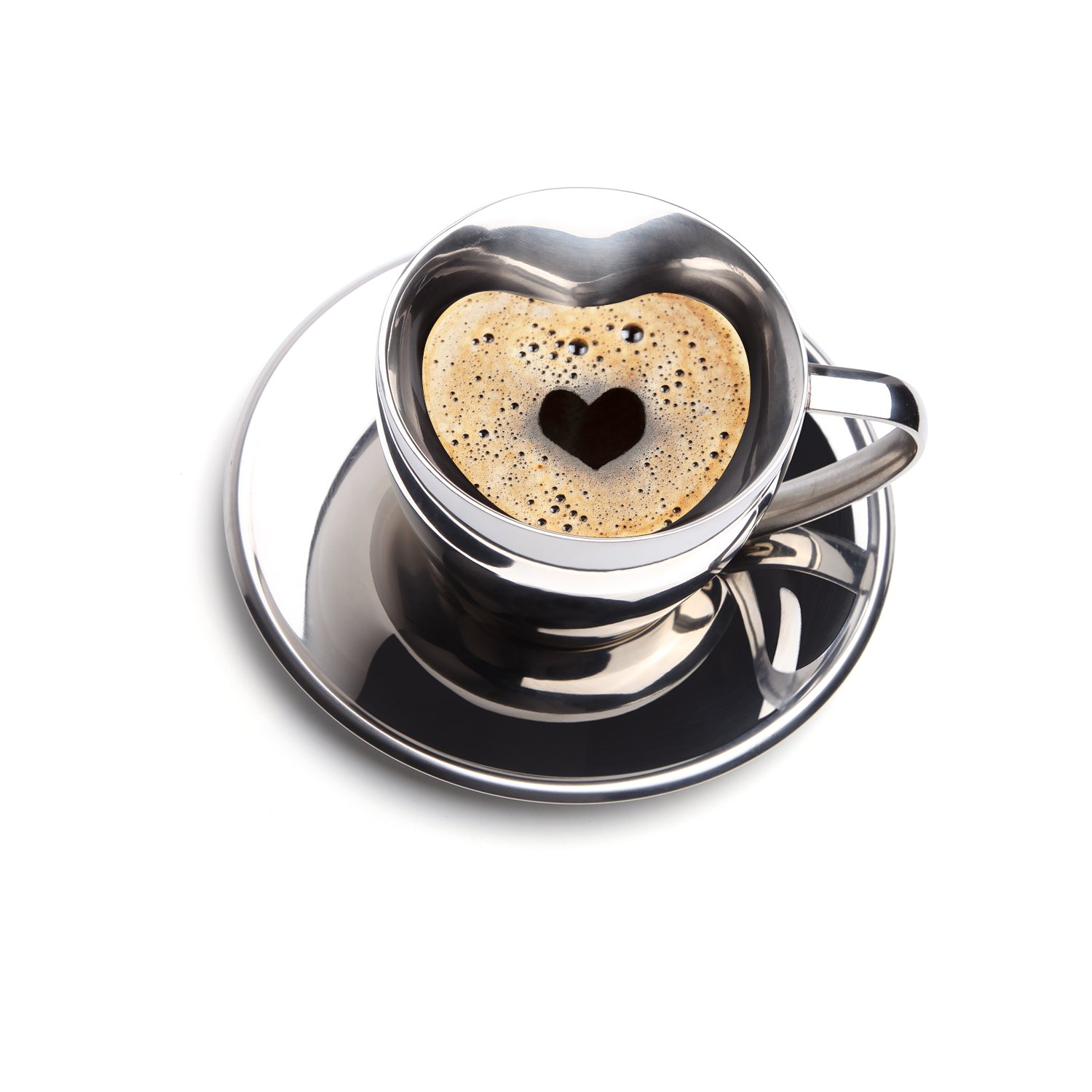 AMOVEE Coffee Cup Stainless Steel Heart Shape Double Walled Insulated Espresso, Milk, Cappuccino, Latte Cup with Saucer - 200ml