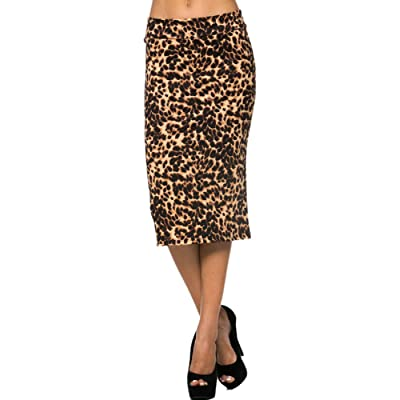 2LUV Womens Solid /& Multicolor Print High Waisted Pencil Skirt