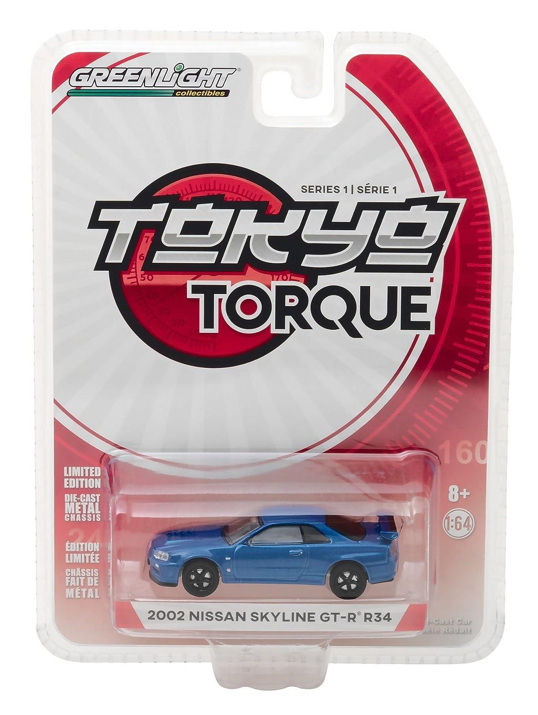 2002 Nissan Skyline GT R R34 Bayside Blue Tokyo Torque Series 1 1 64 Diecast Model Car by Greenlight 29880 E