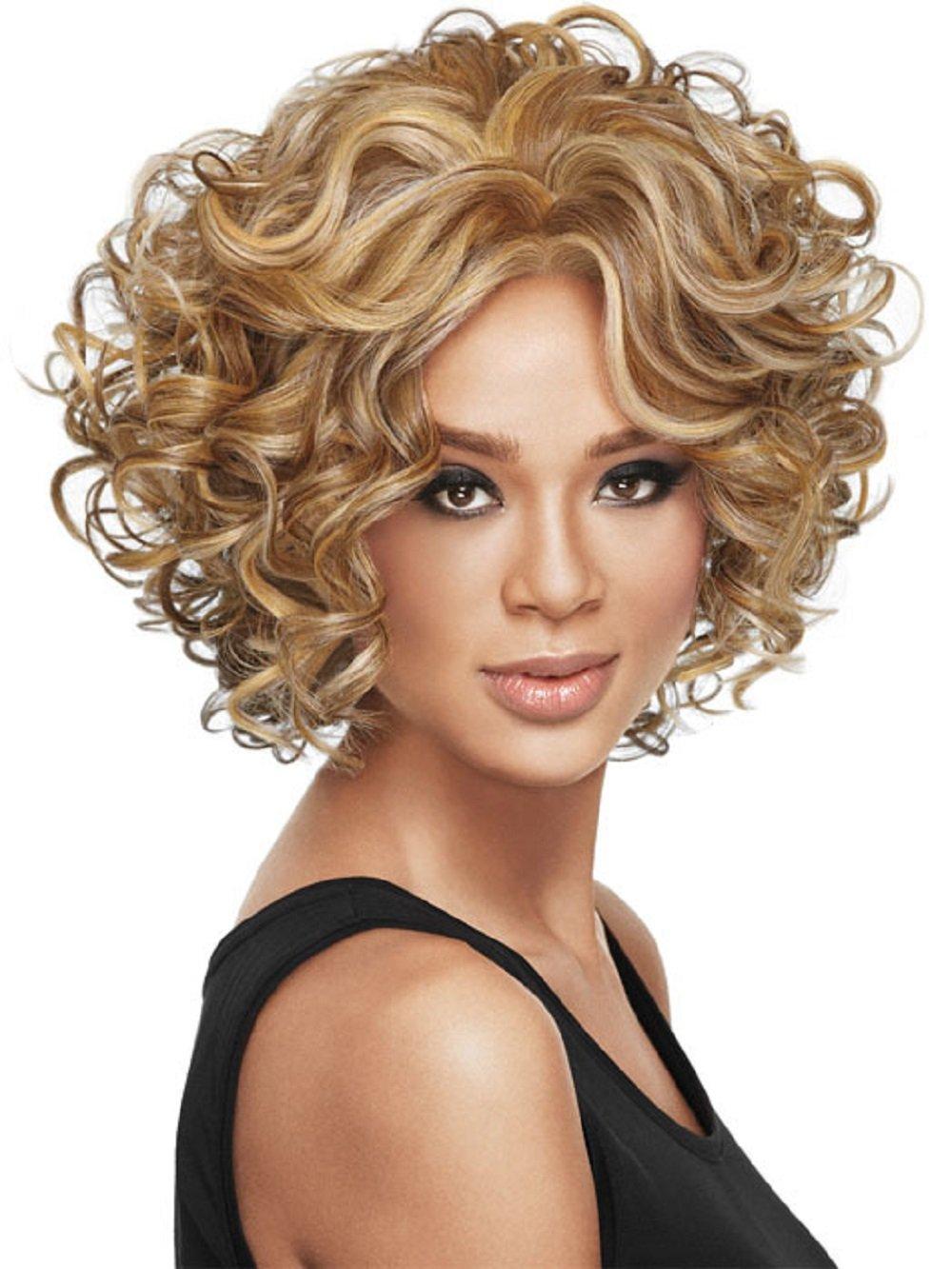 peluca rizada Pelucas de pelo corto rizado; pelucas de pelo afro rizado para mujeres negras. Pelucas sintéticas con flequillos resistentes al calor, ...