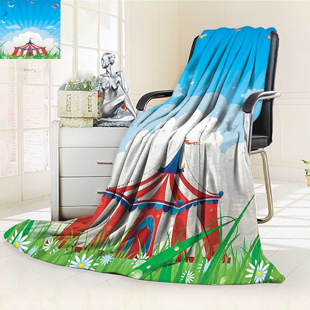 80%OFF Warm Microfiber All Season Blanket Circus Travelling Circus Tent with Clouds Butterflies and Bright Sky Print Artwork Image,Multicolor