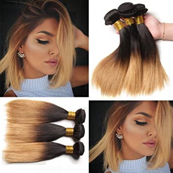 Amazon.com   XCCOCO Hair Ombre Honey Blonde Straight Weave Dark Roots Blonde  Bundles 1b 27  Peruvian Wholesale Virgin Remy Human Hair Weaving Weft ... bc357b3f2