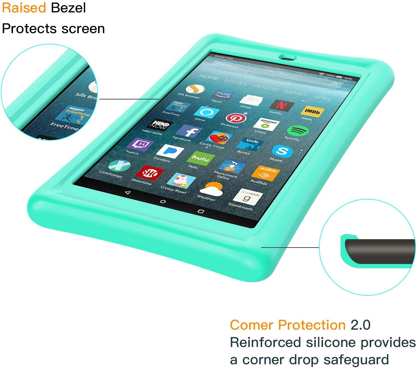 Zotoyi Benazcap Silicone Case for Fire 7 Tablet 2019 (9th Generation) - Shockproof Slim Kids Friendly Protective Cover for Fire 7 Tablet (ONLY for 9th Generation 2019) (Green)