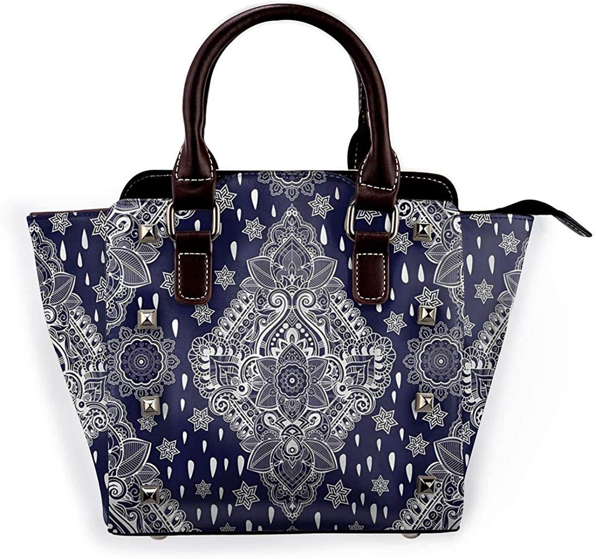 Womens Top Handle Satchel Handbag Ethnic Mandala Ladies PU Leather Shoulder Bag Crossbody Bag