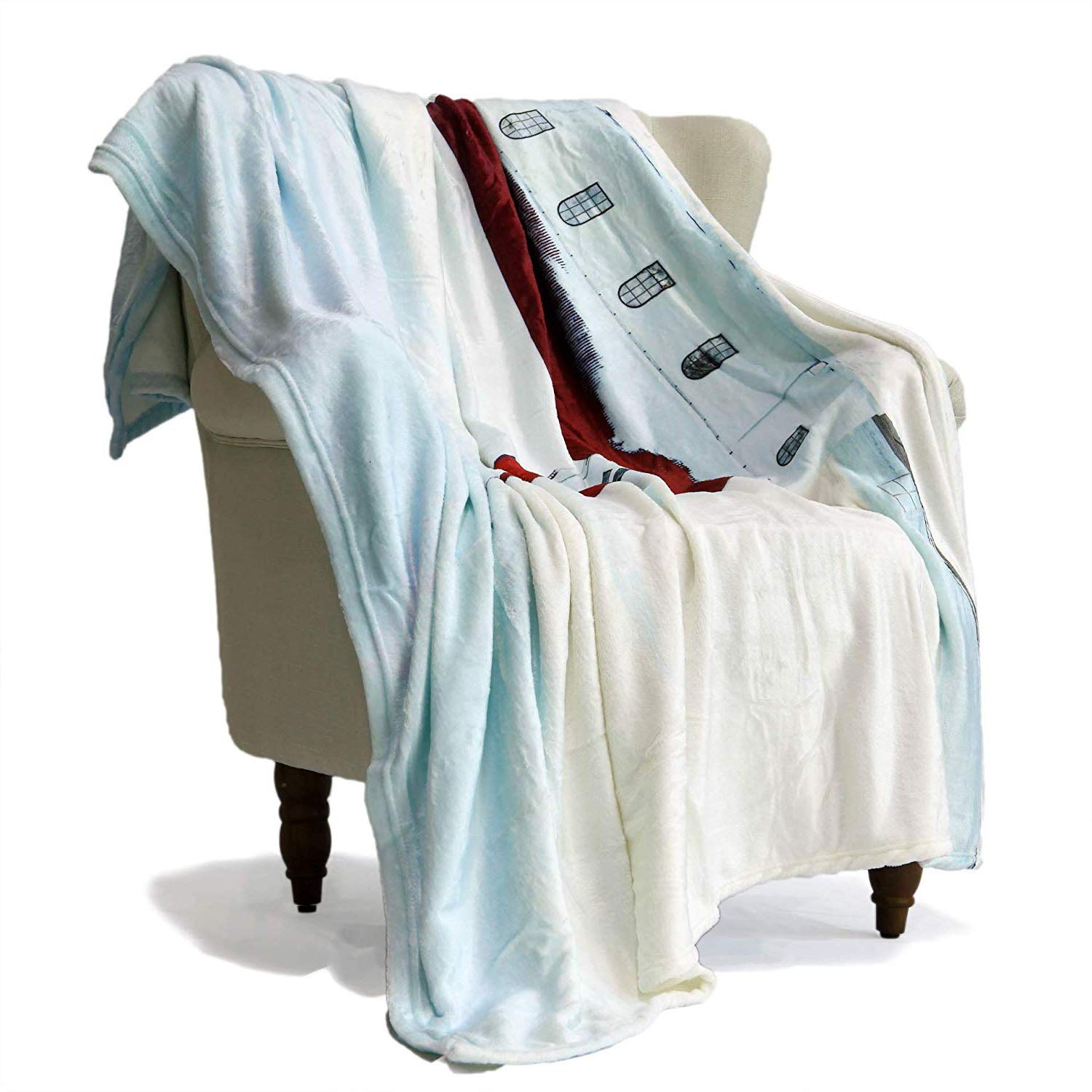Fine Simbadeco Throw Blanket For Sofa Christmas Winter White Snow With Small Church House Fantasy Fairy Tale Kids Decorative Sofa Bedding Blankets Super Gmtry Best Dining Table And Chair Ideas Images Gmtryco