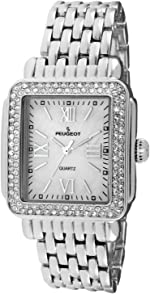 Peugeot Women Rectangle Dress Watch with Crystal Decorated Bezel, Roman Numerals