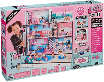 L.O.L Hangout Doll House 85 Surprises Wooden Multi Story Interactive Toy L.O.L