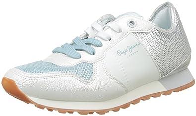 Pepe Jeans London Verona W Sequins, Zapatillas Mujer, Plateado (Silver), 36 EU: Amazon.es: Zapatos y complementos