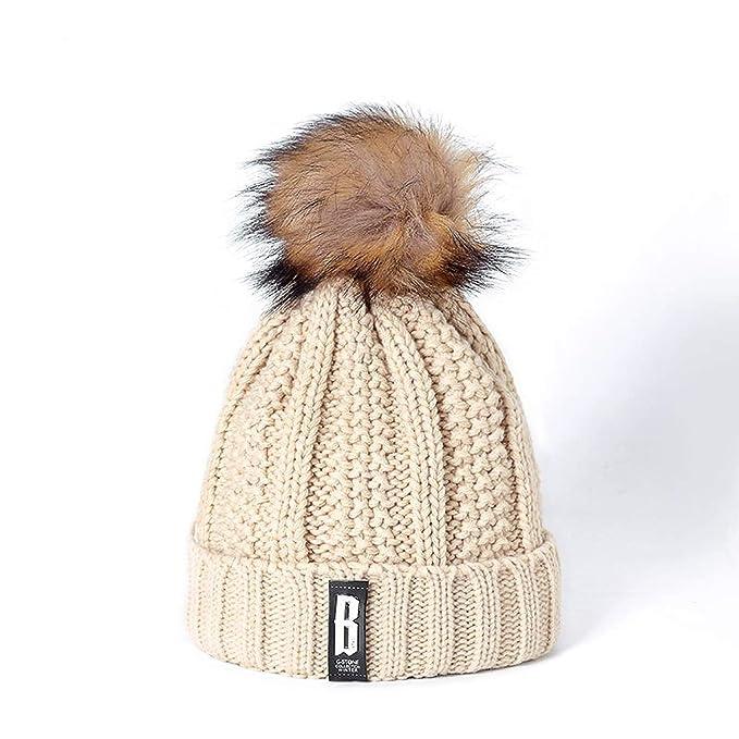 Letter Add Wool Fur Ball Cap Pom Poms Winter Hat for Women Girl  s Hat bef0d928d59
