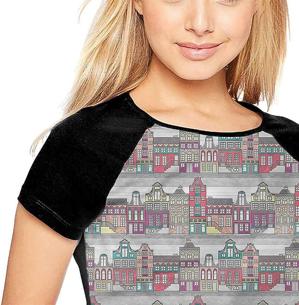 Womens Tops Blouses,Dutch,Amsterdam Sketch Houses S-XXL Summer Custom Tees for Girls
