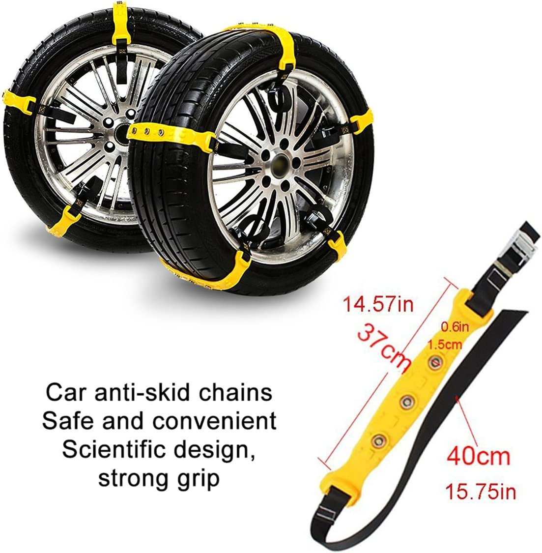 Metyere Car Auto Tire Snow Chains Winter Easy Install Tire Anti-Skid Belt Car-Styling SUV Tire Chain Anti Slip Snow Chains Adjustable Anti-Skid Emergency Snow Tire Chains