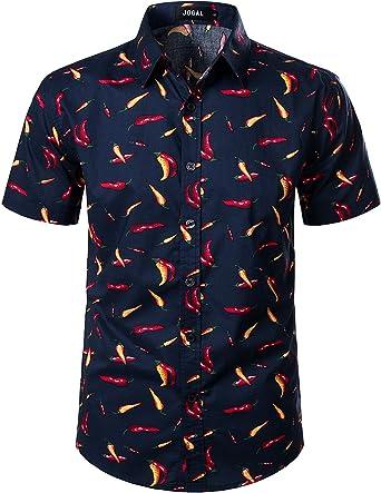 JOGAL - Camisas informales de verano para hombre, diseño de Aloha tropical, estilo hawaiano: Amazon.es: Ropa y accesorios