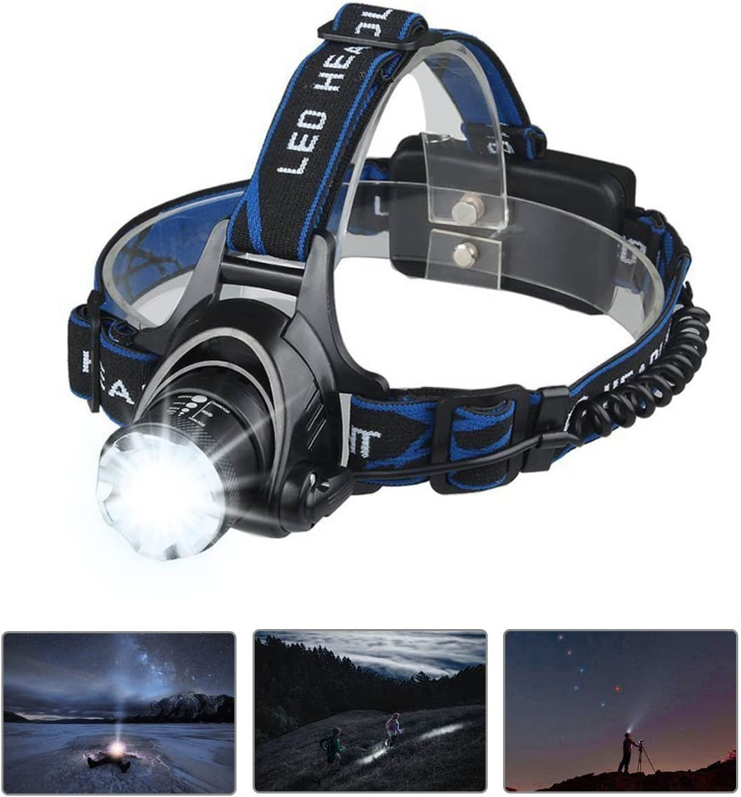 Image of a headlamp with beam on, black and blue colored headband.
