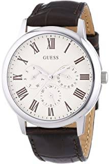 GUESS W70016G2,Mens Multi-Function Dress Sport,Leather Strap,Stainless Steel Case