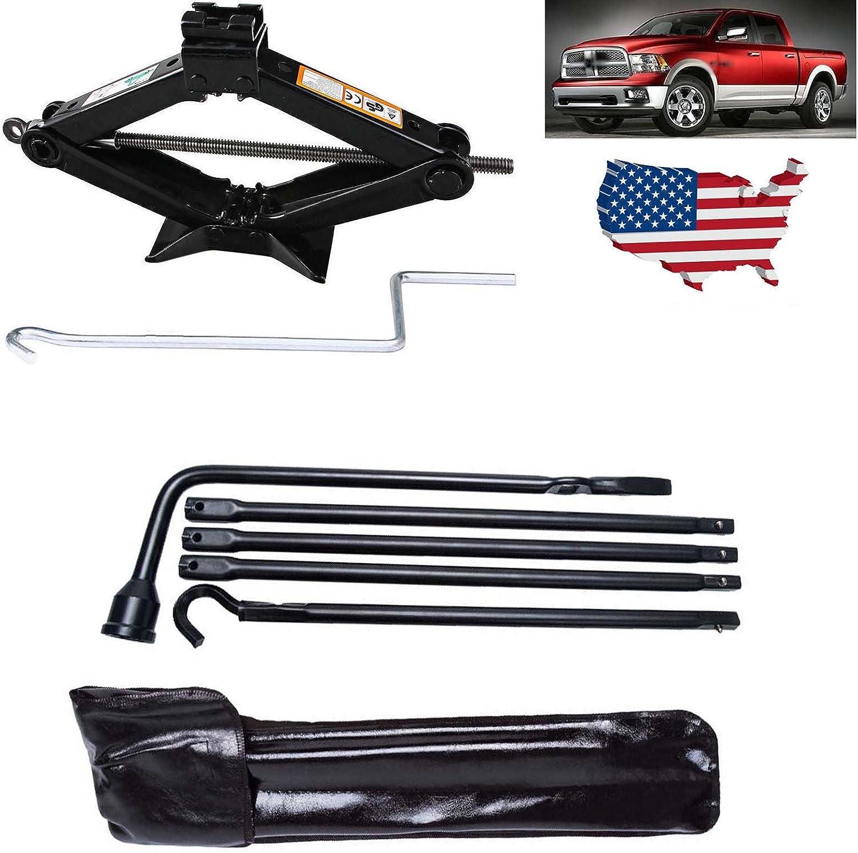 Bowoshen 2 Tonne Scissor Jack Range 90-360MM /& Spare Tire Lug Wrench Tool Extension Set Kit for 2002-2015 Dodge Ram 1500