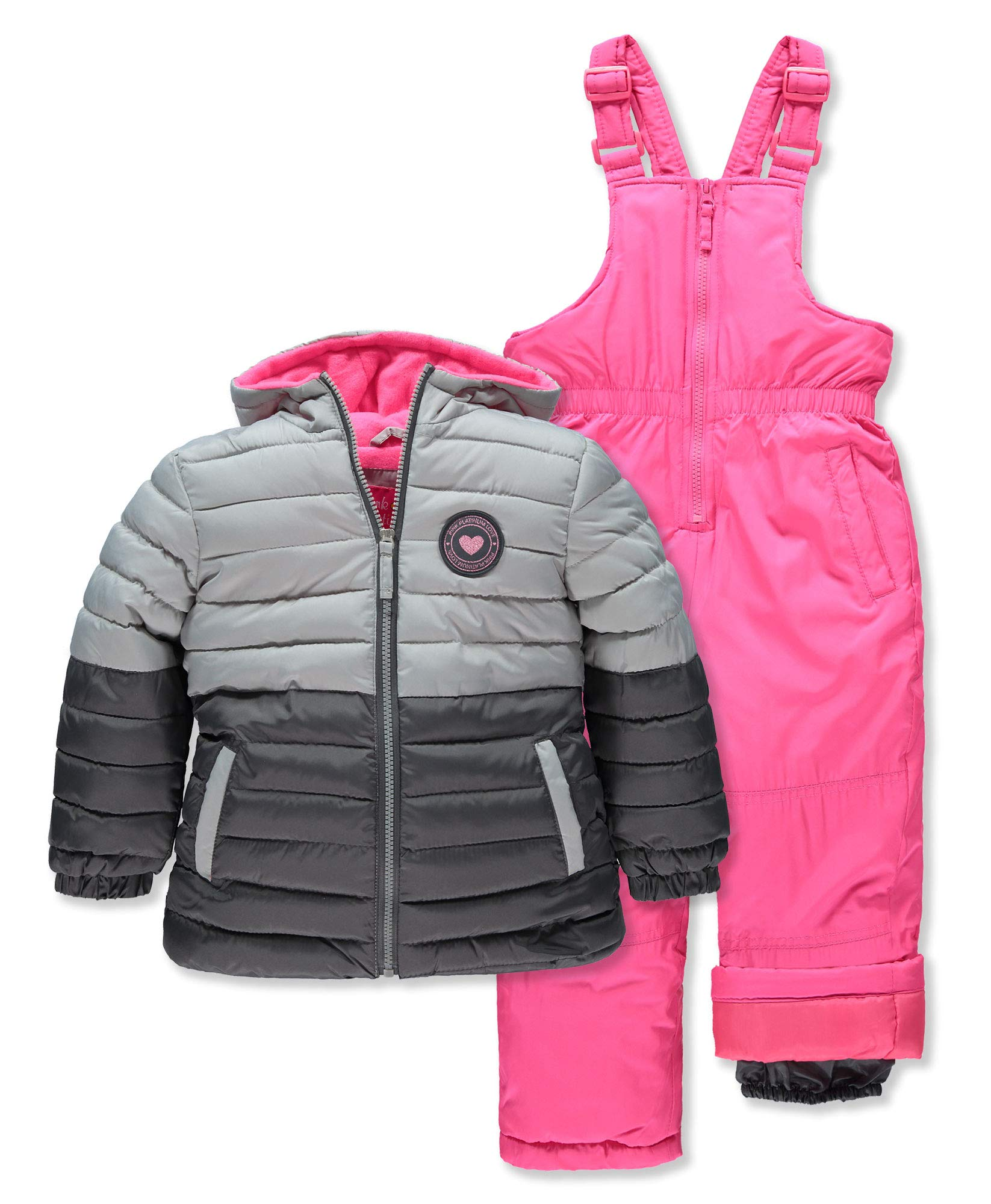 Pink Platinum Girls' Toddler Insulated Two-Piece Snowsuit, Charcoal Block, 4T by Pink Platinum