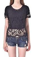 Wantdo Women's Hollow Out Blouse Slim Lace T-shirt
