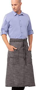 Chef Works Unisex Corvallis Bistro Apron, Black/Steel Gray, One Size