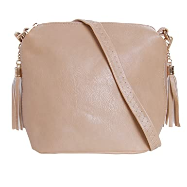 96a09b7b5d86 Humble Chic Mini Tassel Cross Body Bag - Small Vegan Leather Zipper  Crossbody Handbag Shoulder Purse