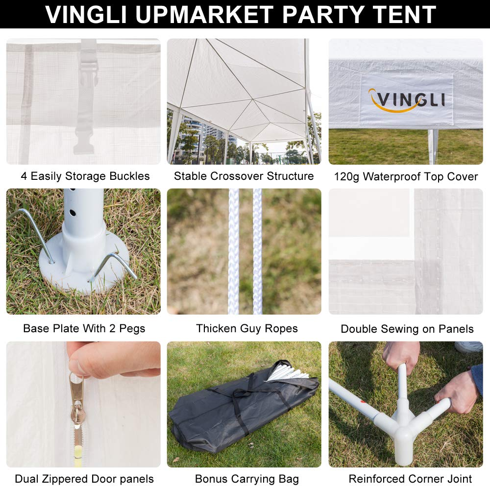 VINGLI 10x10 Outdoor Canopy Party Tent,with 4 Removable Sidewalls,Summer Pool Canopy,Sunshade Shelter Outdoor Gazebo Pavilion Wedding Event,White