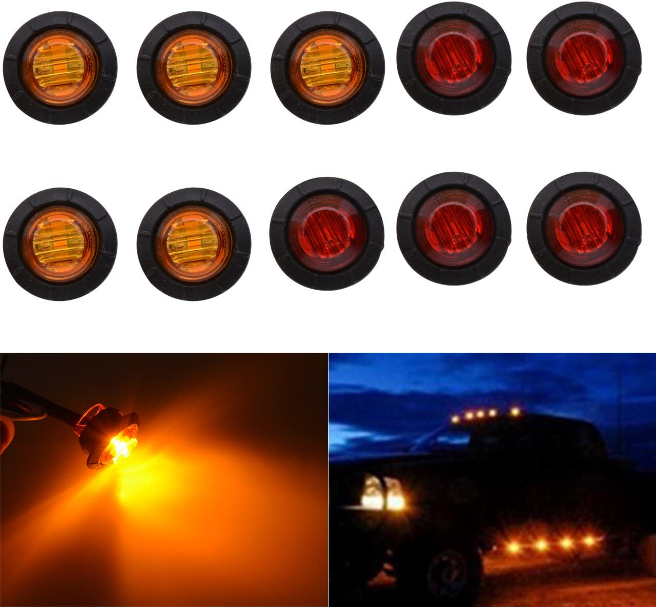 TUINCYN 3//4 Inch Amber Round LED Indicator Light Bulbs Bullet Shaped Front Rear Side Markers Marker Light Tail Light Used for Car Trunk. Pack of 10