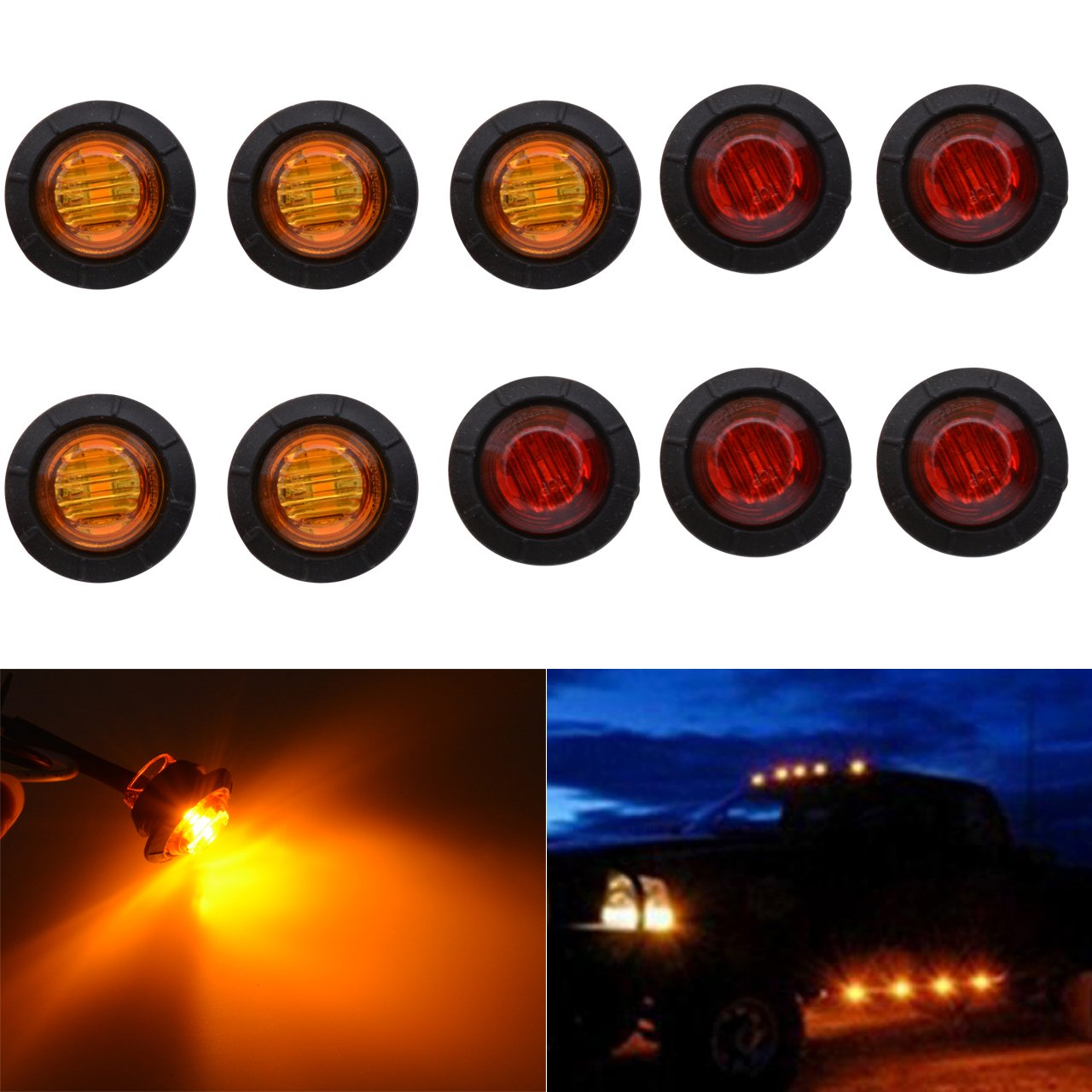 TUINCYN 3/4 Inch Red Round LED Indicator Light Bulbs Bullet Shaped Front Rear Side Markers Marker Light Tail Light Used for Car Trunk.(Pack of 10)