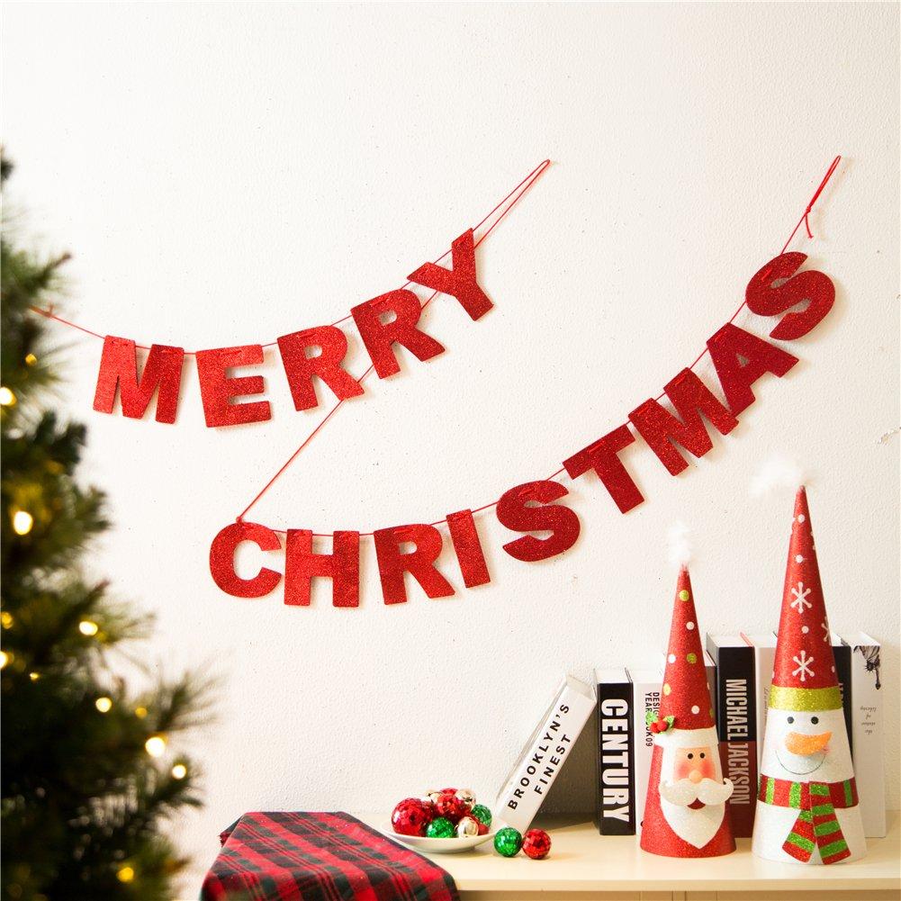 Glitzhome Glittery Merry Christmas Banner Garland Red