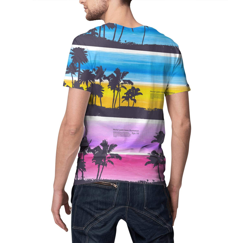 3D Print Mens T Shirt Fashion Gym Beach Summer Sunset Palm Trees Short Sleeve T-Shirts