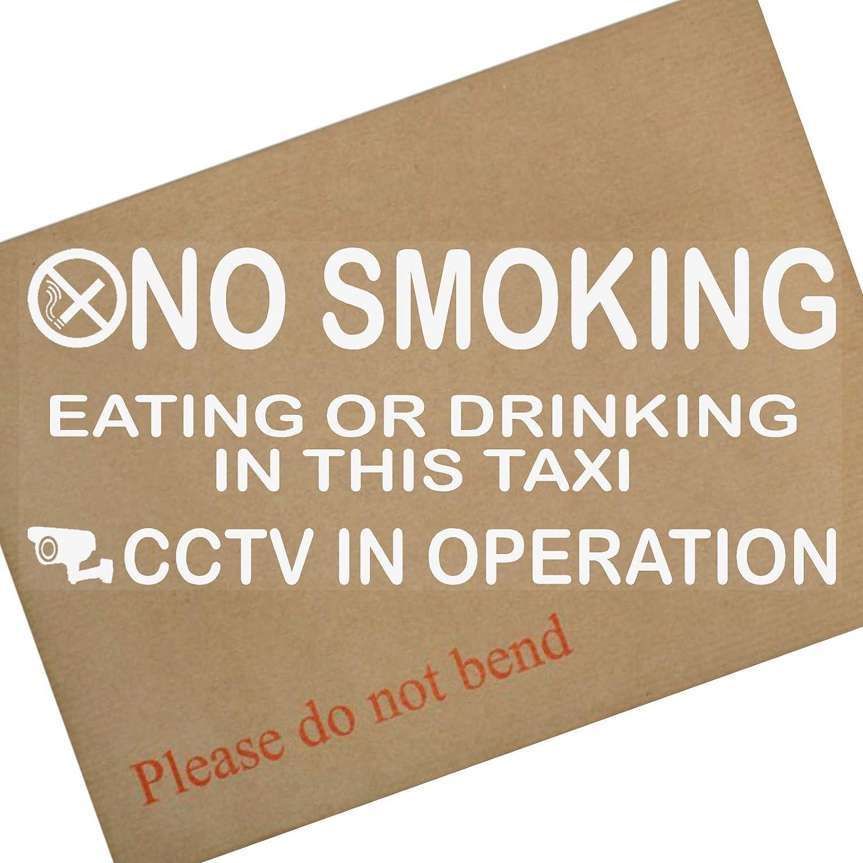 2 adesivi da vetro per taxi, 205 x 87 mm, divieto di fumare, mangiare, bere e avviso di telecamere a circuito chiuso in funzione Platinum Place PPTAXISMCCTV