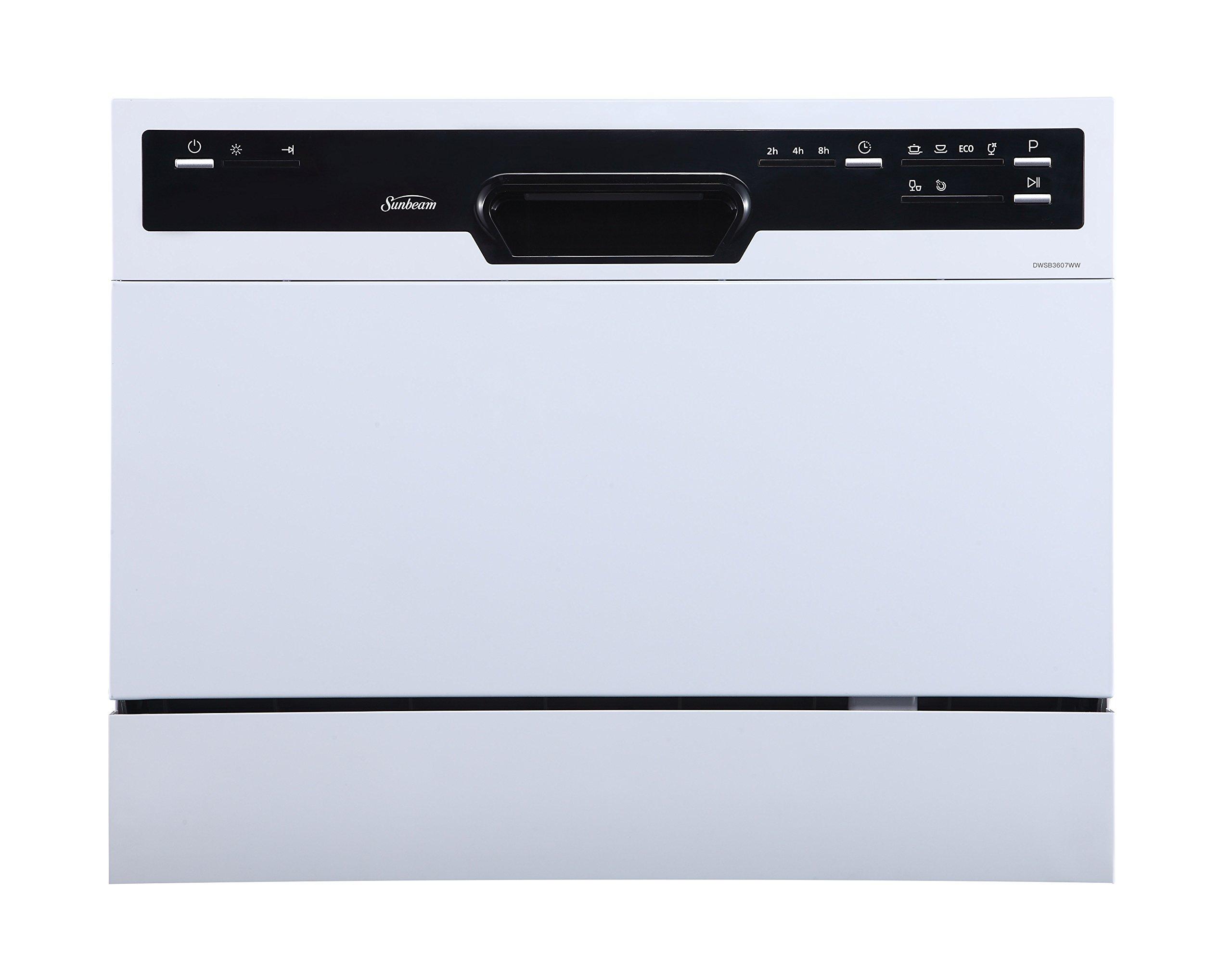 Sunbeam DWSB3607WW Portable Countertop Dishwasher with Rinse Aid Dispenser, White