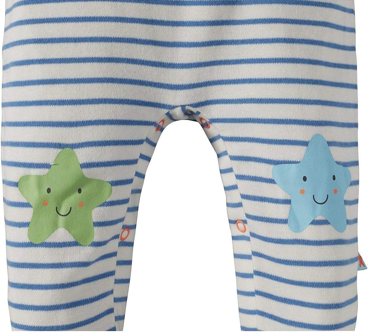 - einfarbiges Langarmshirt mit Druckkn/öpfen an den Schultern /& geringelter Strampler Bornino Seaside Strampler-Set 2-TLG. Offwhite//blau