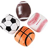 "5"" Mini Soft Plush Sports Balls Set for Kids - Set of 4 (Football, Baseball, Basketball, Soccer)"