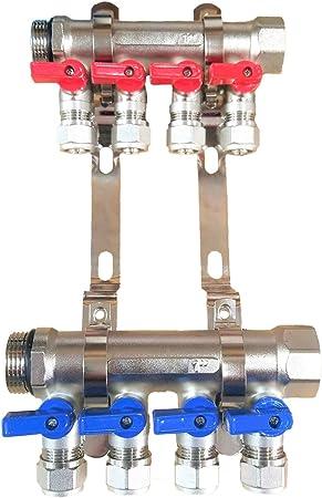 3//4 3-Loop//Port Ball Valve Brass Pex Manifold for 1//2 Pex Tubing