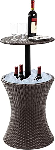 Display4top 7.5-Gal Cool Bar Rattan Style Outdoor Patio Pool Cooler Table with Height Adjustable Outdoor Wicker Ice Bucket Cocktail Coffee Table for Party, Pool, Deck, Backyard Use Brown