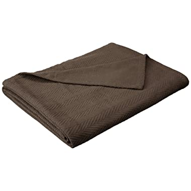 Superior 100% Cotton Thermal Blanket - All-Season Oversized Throw, Woven Blanket with Herringbone Weave Pattern, Charcoal, Full/Queen Size