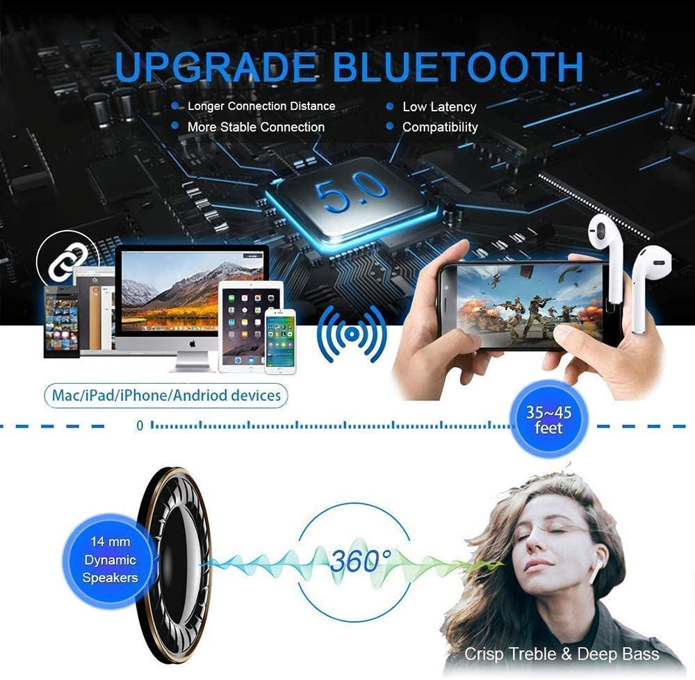 Wireless Headset Stereo Bluetooth Headset in-Ear Built-in Handsfree Microphone for Apple Airpods Android//iPhone Wireless Bluetooth Headset