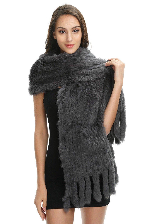 Ferand Women's Knitted Real Rabbit Fur Warm Shawl Scarf with Tassels for Winter, One size, Dark grey
