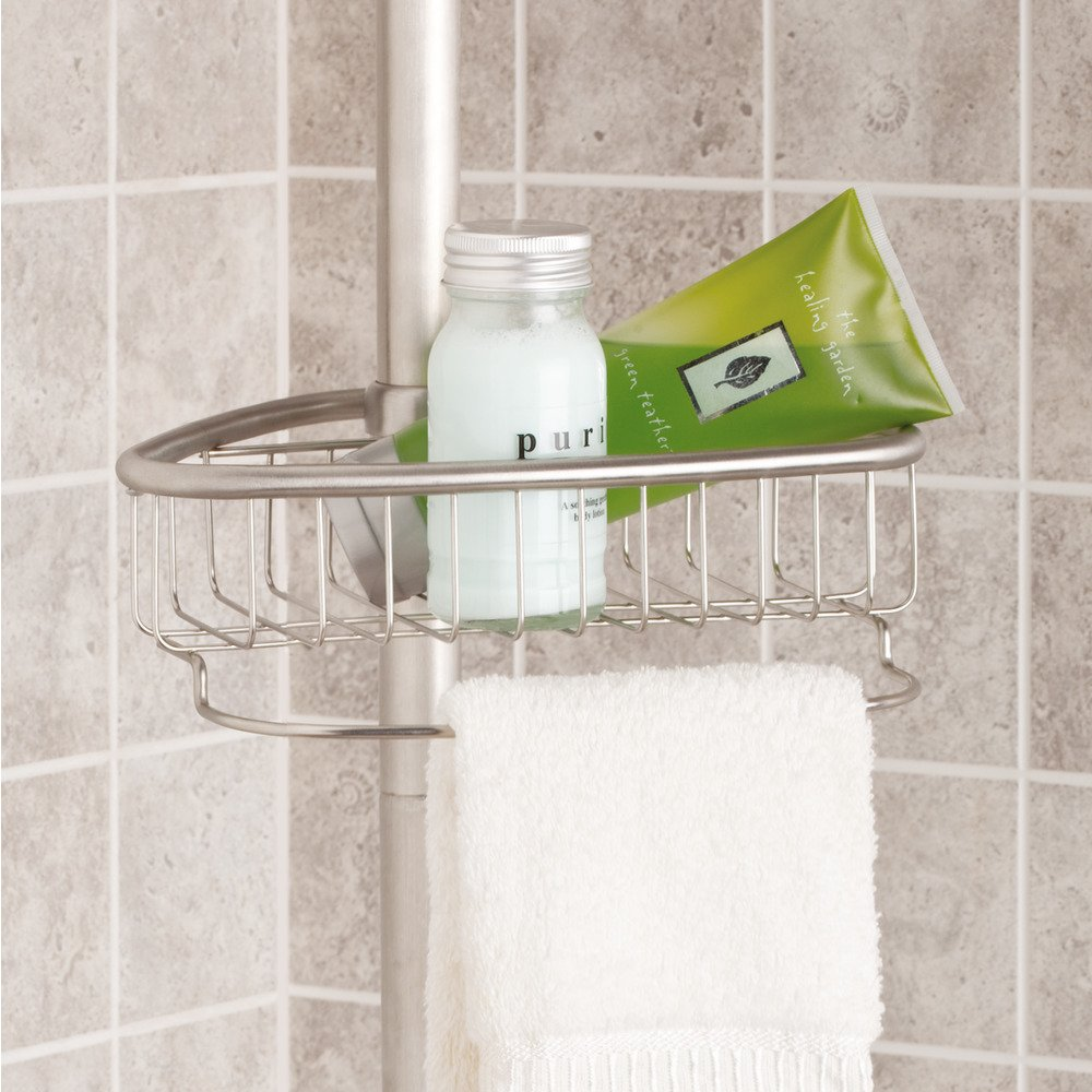 amazon com interdesign forma bathroom constant tension corner amazon com interdesign forma bathroom constant tension corner shower caddy for shampoo conditioner soap brushed stainless steel home kitchen