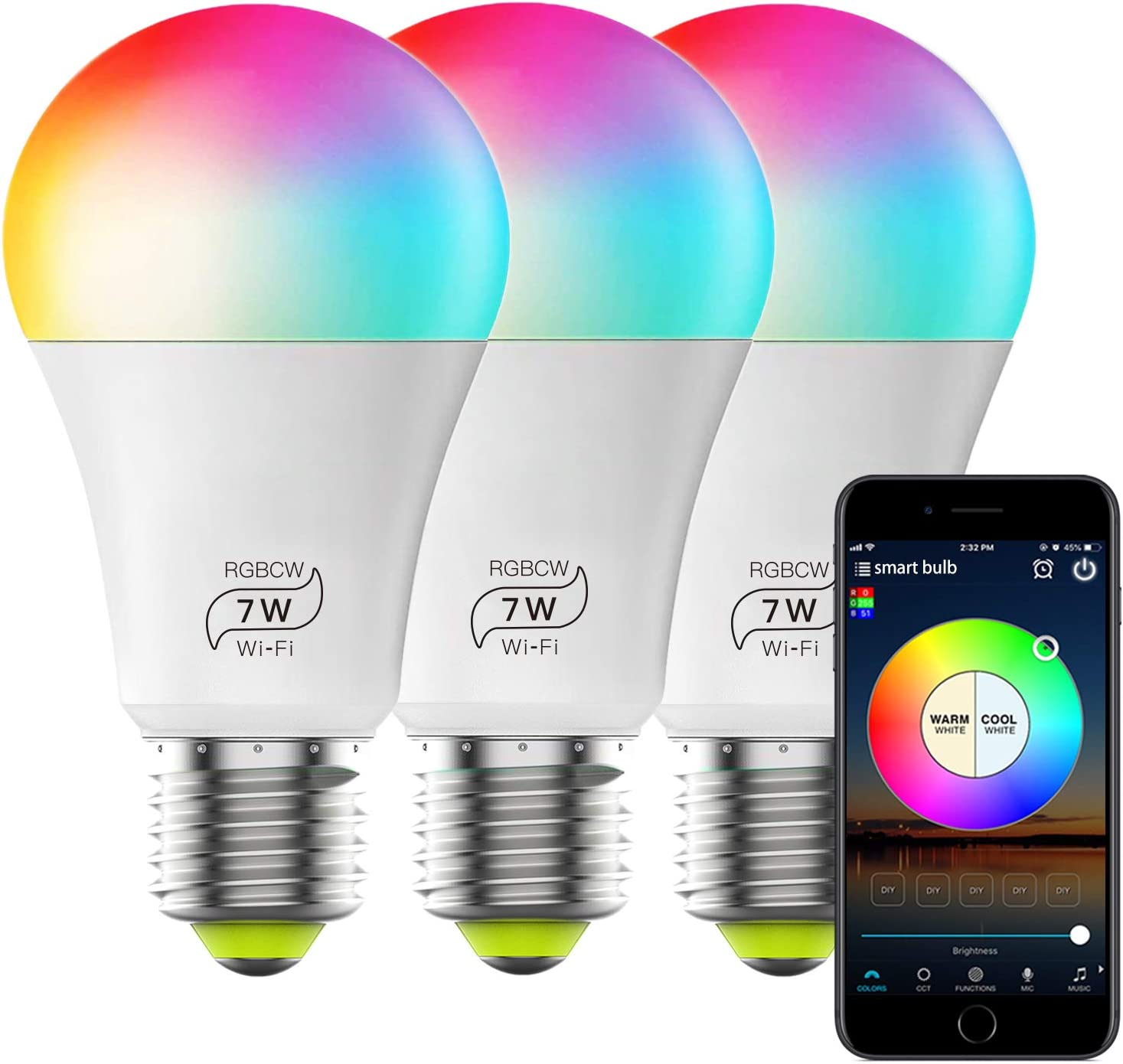 Smart Bulb No Hub Required, Dimmable Multicolor WiFi Light Bulb, A19 7w (60w Equivalent) 2700k-6500k, Work with Alexa Google Home Siri IFTTT (3 Pack)