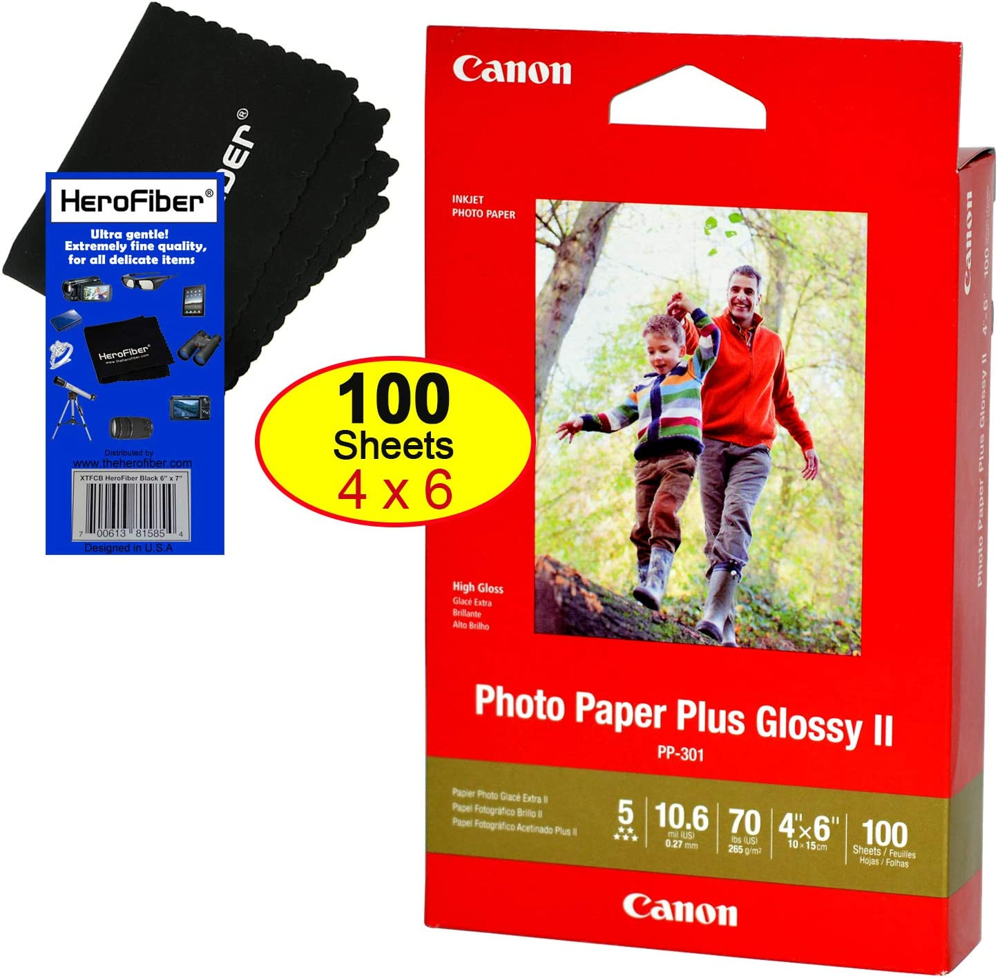 """CANON PHOTO PAPER PLUS GLOSSY II 4/"""" x 6/"""" 100 SHEETS HIGH GLOSS"""