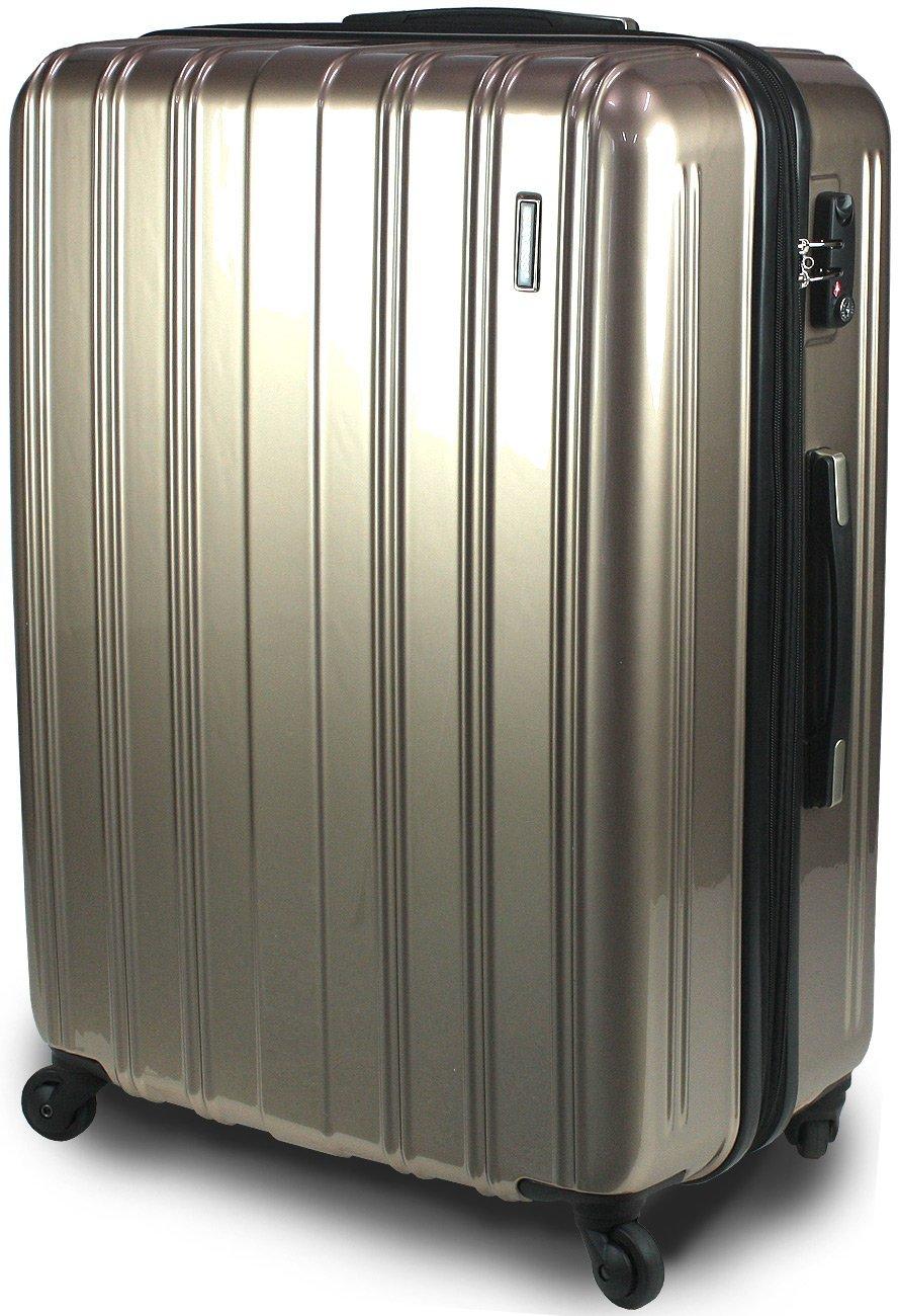【SUCCESS サクセス】 スーツケース 3サイズ( 大型  ジャスト型  中型 ) TSAロック 搭載 超軽量 レグノライト2020~ ミラー加工 キャリーバッグ B0716NYG45 中型 66㎝|ゴールド ゴールド 中型 66㎝