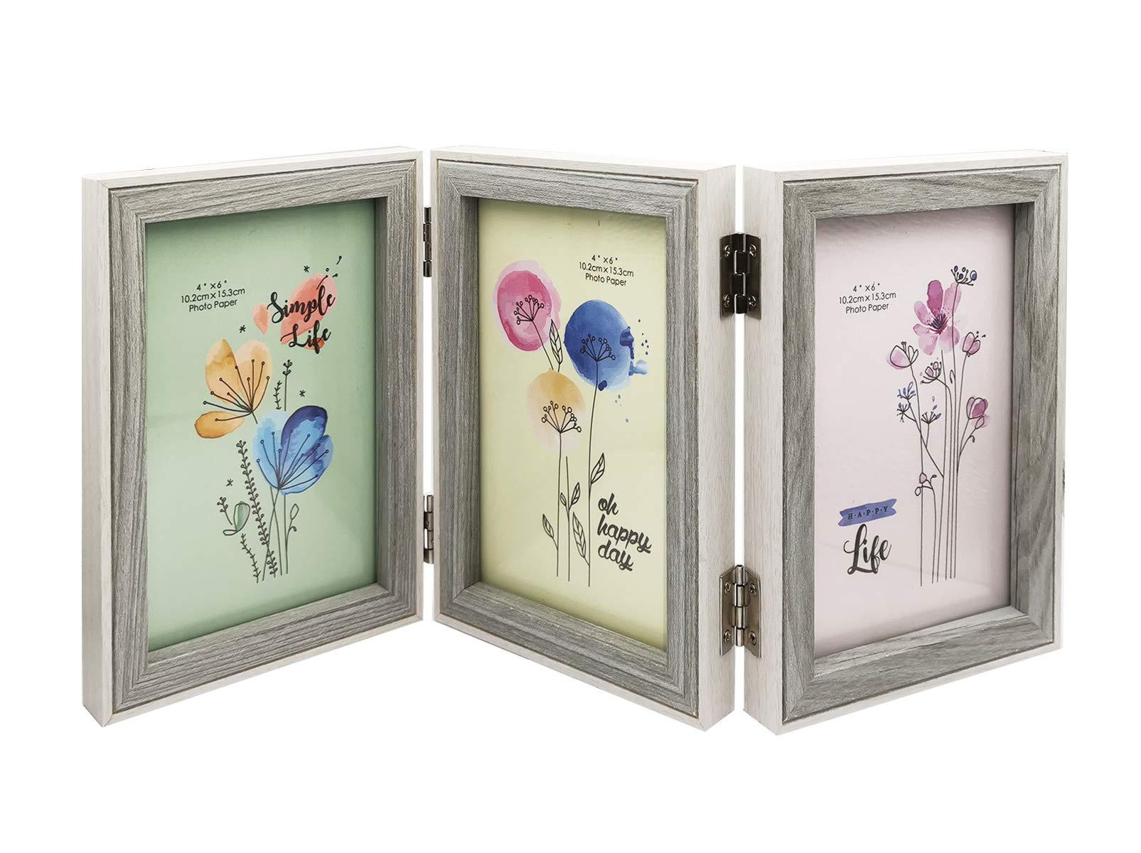 MICKYU Decorative Triple Hinged Table Desk Top Picture Photo Frame, 3 Vertical Openings, 4x6 inches with Real Glass