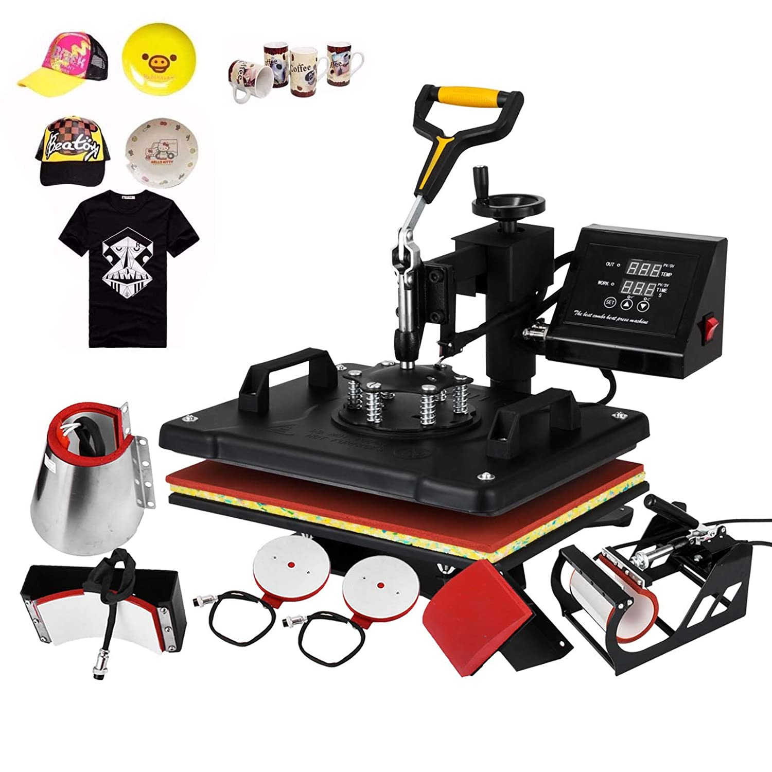 Happybuy Heat Press Machine 12x15 Inch 360 Degree Swing Away Heat Press 5 IN1 Multifunction Sublimation T Shirt Press Mug Cap Plate with Dual Digital Controller (5in1 15