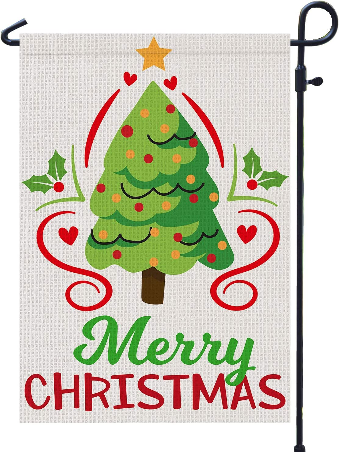 PAMBO Merry Christmas Garden Flags 12x18 Double Sided Burlap - Christmas Tree Garden Flag for Outside Decoration