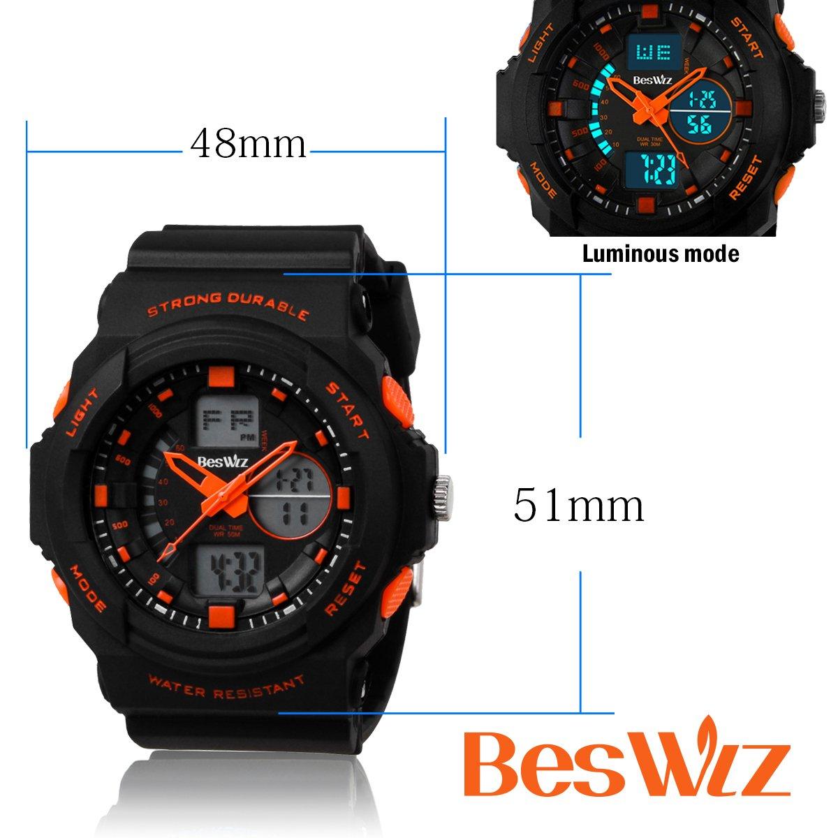 BesWLZ Multi Function Digital LED Quartz Watch Water Resistant Electronic Sport Watches Child Orange by BesWlz (Image #3)